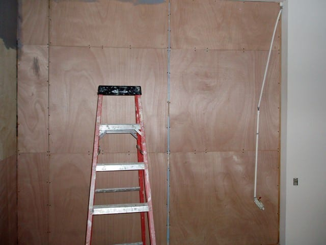 Paneling before stain ($11 sheet Merlanta)